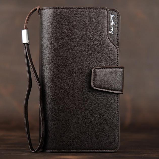 Стильный мужской кожаный клатч кошелек Коричневый Baellerry Business Балери Vsem