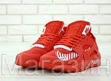 """Мужские кроссовки Off-White x Nike Air Huarache Ultra """"Red"""" (в стиле Найк Хуарачи) красные, фото 3"""