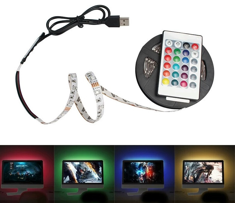 Цветная светодиодная лед лента 3528 + контроллер + USB + пульт RGB 3 метра
