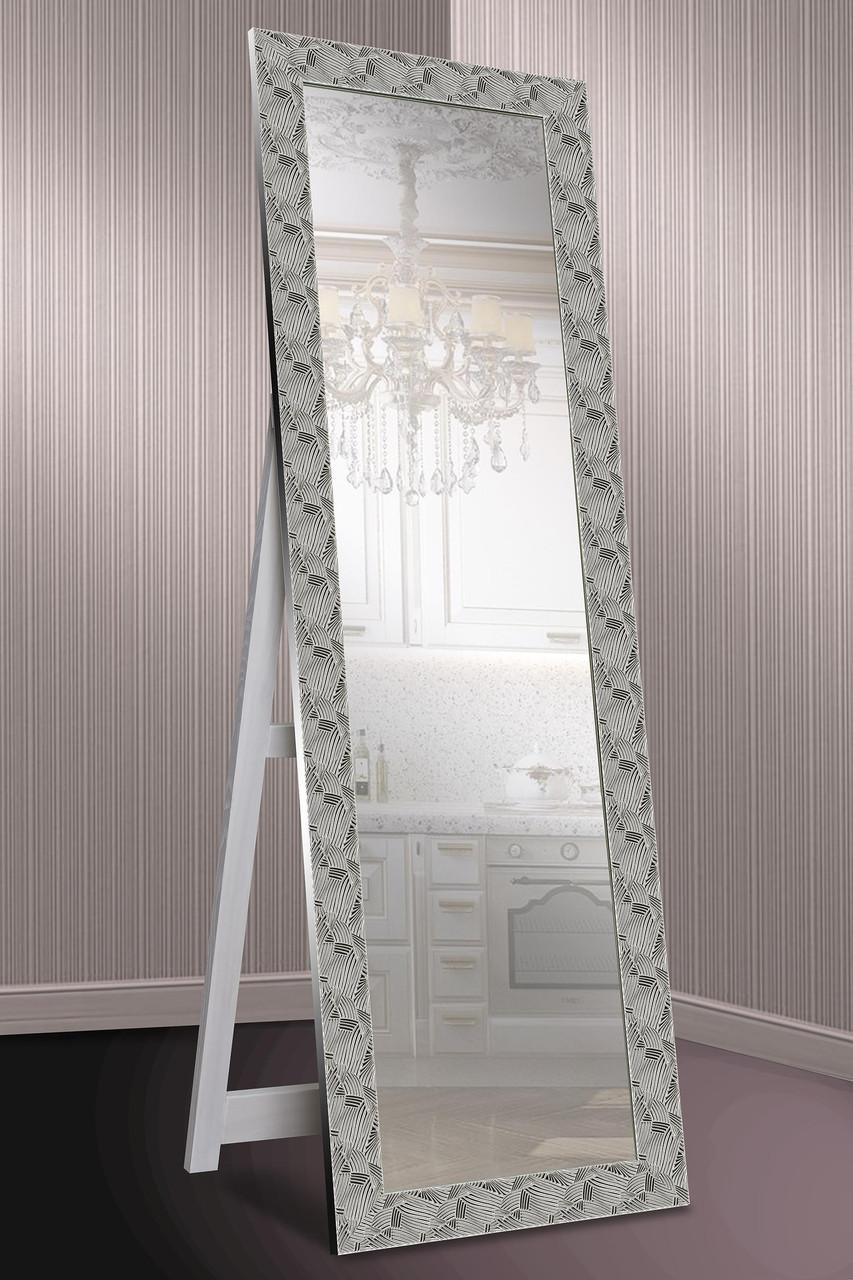 Зеркало напольное в раме Factura с деревянной подставкой Steel pattern 60х174 см сталь, фото 1