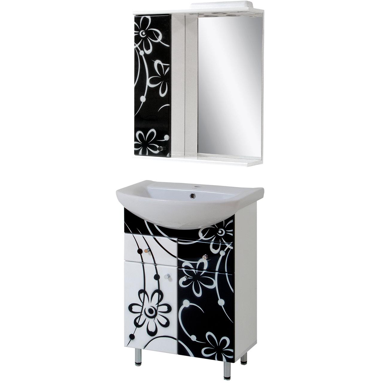 """Комплект мебели для ванной комнаты """"Черно-Белая ромашка"""""""