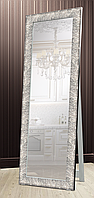 Зеркало напольное в раме Factura с деревянной подставкой Steel texture 60х174 см сталь, фото 1