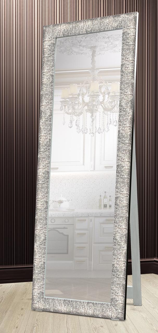 Зеркало напольное в раме Factura с деревянной подставкой Steel texture 60х174 см сталь