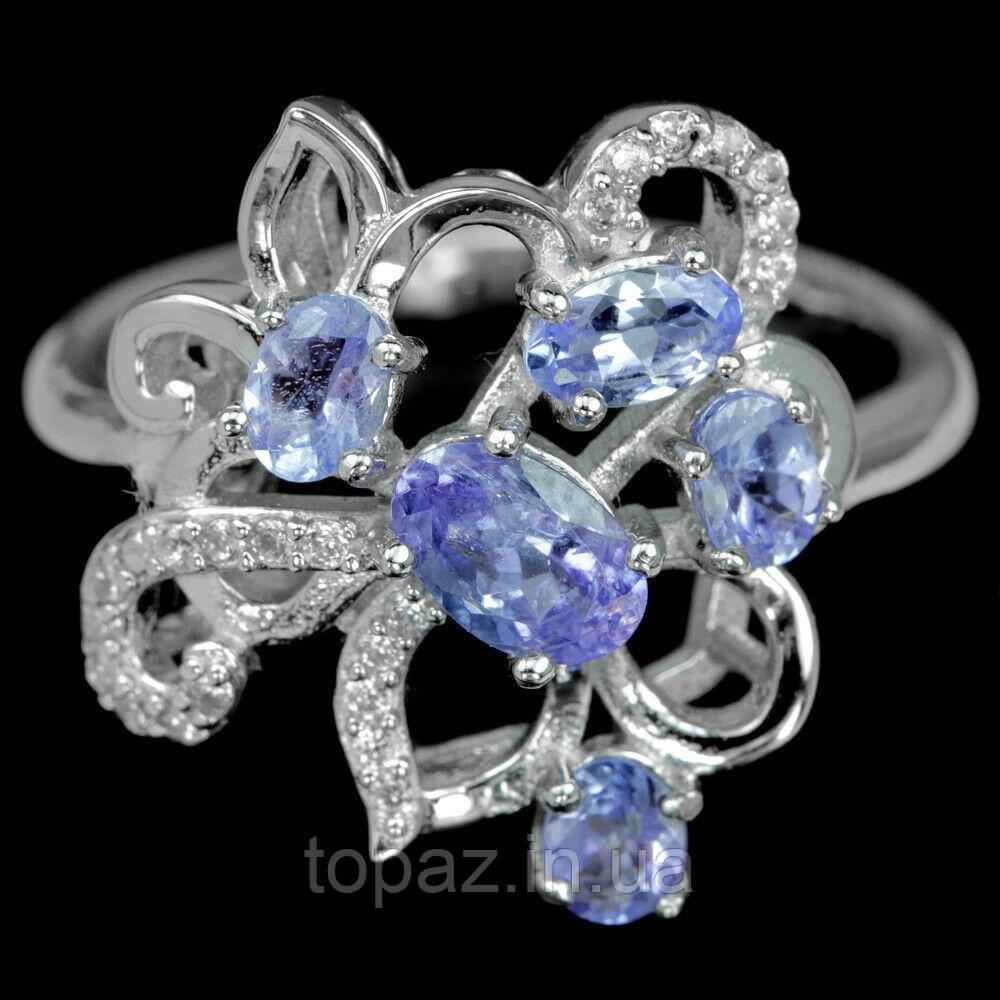 Кольцо серебряное 925 натуральный танзанит, цирконий.