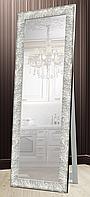 Зеркало напольное Factura в пластиковом багете деревянная подставка Textured silver 60х174 серебро, фото 1