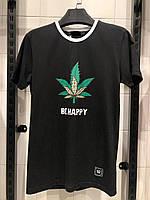 Мужская футболка черная BE HAPPY, фото 1