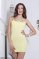 Яскраве приталена сукня-міні на бретелях з цікавим декольте Eliza