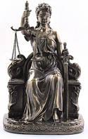 Настольная статуэтка Фемида на троне из полистоуна с бронзовым напылением Veronese