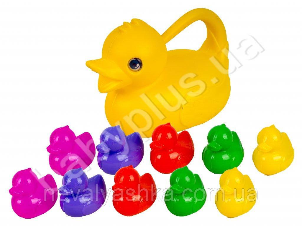 Набор Уточек для ванной Уточки 10 шт + мама Лейка Пластик Мтойс M-TOYS 18223, 010980