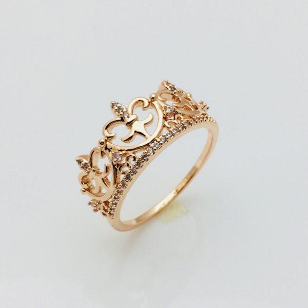 Кольцо коронка Басилия, размер 19, 20 позолота 18К Fallon
