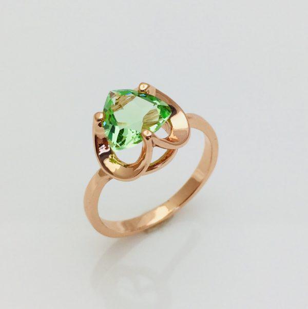 Кольцо с салатовым камнем, размер 17, 18, 20 позолота 18К Fallon
