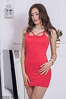 Яркое приталенное платье-мини на бретелях с интересным декольте  Eliza
