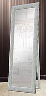 Зеркало напольное Factura в пластиковом багете с деревянной подставкой Silver сube 60х174 см серебро, фото 1
