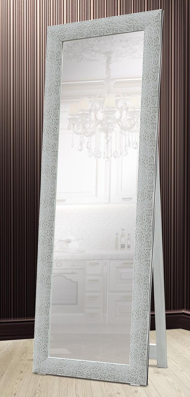 Зеркало напольное в раме Factura с деревянной подставкой Silver сube 60х174 см серебро