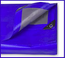 Тент 4х5 м. серо-синий с кольцами плотность 180  г/м² (тарпаулин)