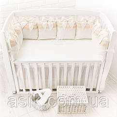 Бортики-подушки из сатина молочного цвета с королевским кружевом