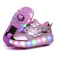 Кроссовки светящиеся на 2 роликах, Usb зарядка, детские и подростковые.