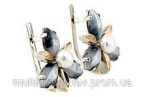 Серебряные серьги с улекситом и жемчугом (с золотыми накладками)