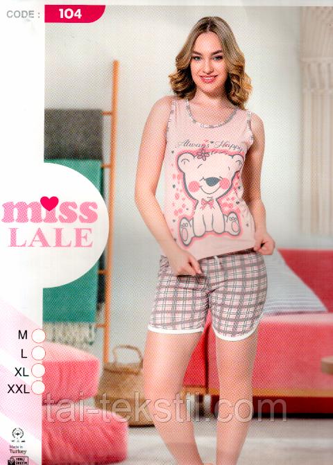 Пижама женская майка и шорты хлопок разные цвета MISS LALE № 104