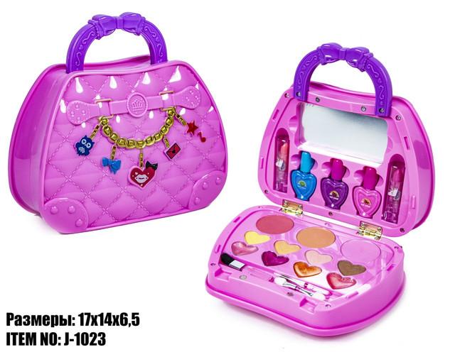 Набор детской косметики J-1023 для макияжа и маникюра, в сумочке