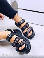 Босоножки спортивные на массивной платформе из обувного текстиля с бронзовым напылением(19C)