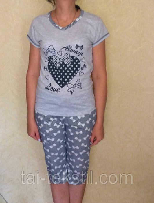 Пижама женская футболка с Капри хлопок разные цвета Miss LALE № 0110