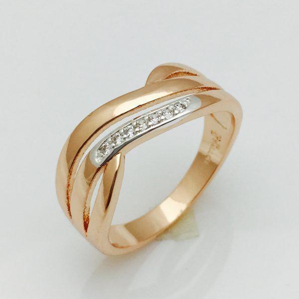 Кольцо Три камня позолота 18К , размер 17, 18