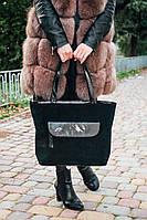 Кожаная сумка модель 07 черный замш, фото 1