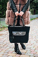 Шкіряна сумка модель 07 чорний замш, фото 1