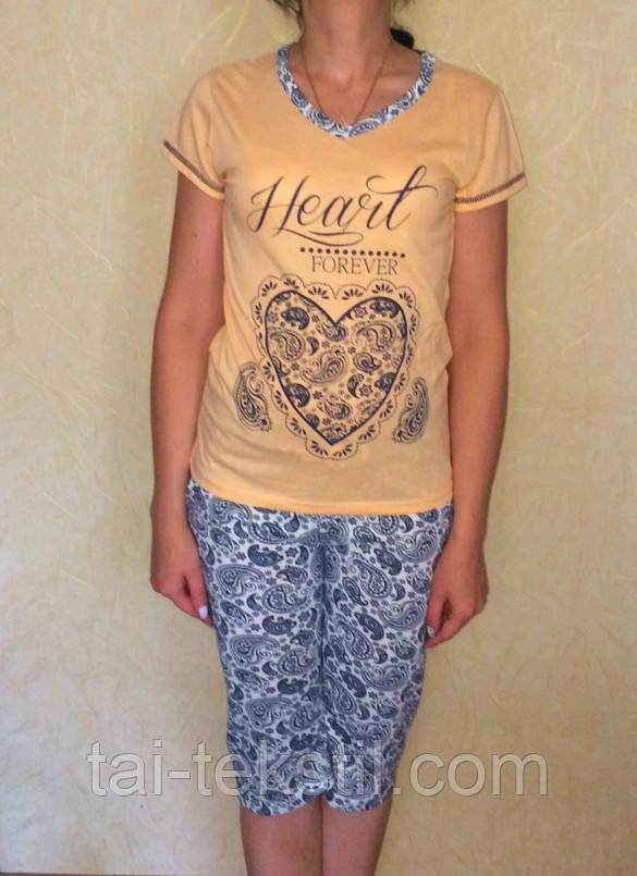 Пижама женская футболка с капри хлопок Tурция MISS LALE № 1001