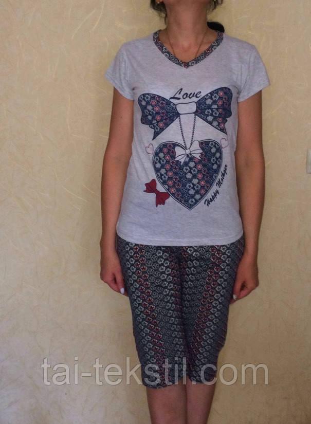 Пижама женская футболка и бриджи хлопок MISS LALE № 10012