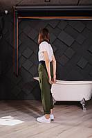 Стильные женские штаны с накладными карманами - черные, хаки, фото 3
