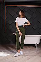 Стильные женские штаны с накладными карманами - черные, хаки, фото 5