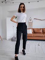 Стильные женские штаны с накладными карманами - черные, хаки, фото 7