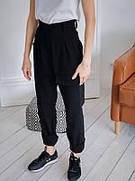 Стильные женские штаны с накладными карманами - черные, хаки, фото 9