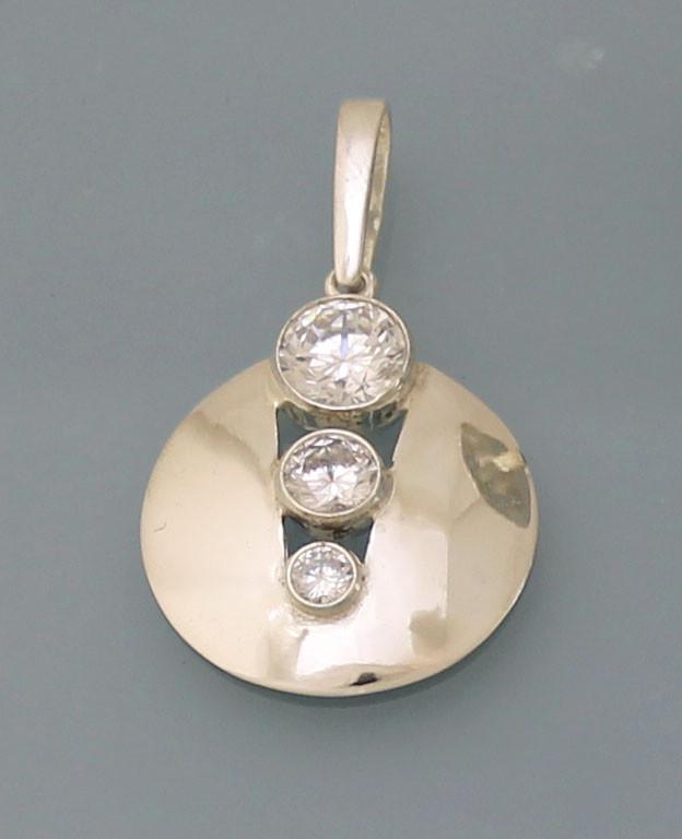 Кулон из серебра 925 пробы с цирконием.
