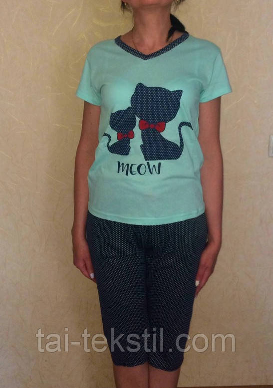 Пижама женская футболка с бриджами хлопок разные цвета MISS LALE  № 01701