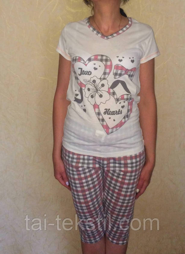 Пижама женская футболка и капри хлопок Турция MISS LALE № 10015