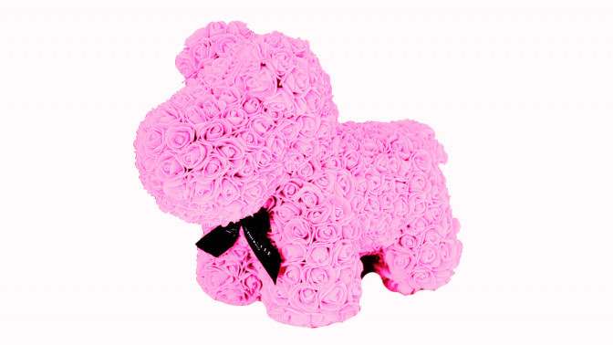 Собачка из 3D фоамирановых роз розовая