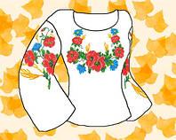 """Заготовка для вышивки женской сорочки на водорастворимом флизелине """"Маки и васильки"""""""