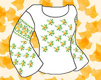 """Заготовка для вышивки женской сорочки на водорастворимом флизелине """"Орнамент розочки желто-оранжевые"""""""