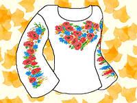 """Заготовка для вышивки женской сорочки на водорастворимом флизелине """"Маки и ромашки"""""""