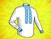 """Заготовка для мужской сорочки на водорастворимом флизелине """"Сине-голубой орнамент"""""""