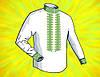 """Заготовка для мужской сорочки на водорастворимом флизелине """"Орнамент желто-зеленый"""""""