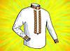 """Заготовка для мужской сорочки на водорастворимом флизелине """"Орнамент черный, зеленый, красный, оранжевый"""""""