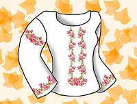 """Заготовка для вышивки женской сорочки на водорастворимом флизелине """"Розовые розы"""""""