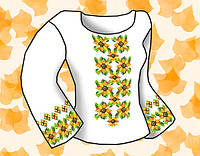 """Заготовка для вышивки женской сорочки на водорастворимом флизелине """"Орнамент подсолнухи"""""""
