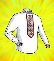 """Заготовка для мужской сорочки на водорастворимом флизелине """"Красно-черный орнамент"""""""