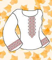 """Заготовка для вышивки женской сорочки на водорастворимом флизелине """"Орнамент красно-черный"""""""