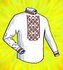 """Заготовка для мужской сорочки на водорастворимом флизелине """"орнамент Черно-красный"""""""
